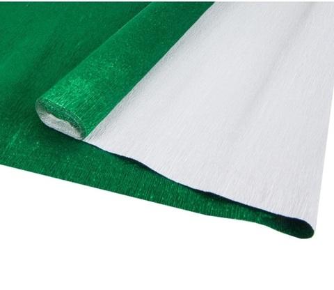 Бумага гофрированная металл, цвет 914 зеленый, 140г, 50х250 см, Cartotecnica Rossi (Италия)