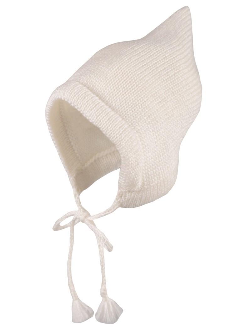 Вязаная шапка Гном Merri Merini белая 6-12 мес.