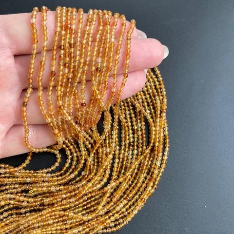 Бусины турмалин жёлтый AА граненый 2,3 мм цена за 170 бусин (~39 см)