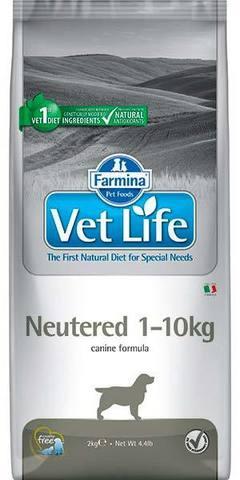 2 кг. FARMINA Vet Life Сухой корм для взрослых кастрированных и стерилизованных собак от 1 до 10 кг Neutered