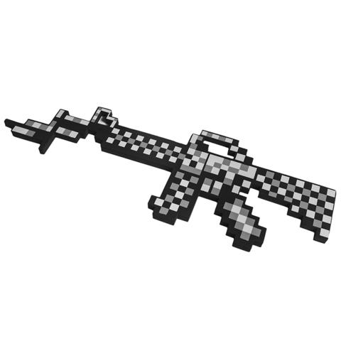 Автомат М16 8Бит серый пиксельный 62см