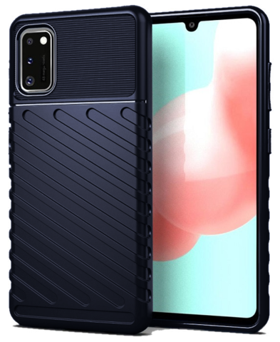 Чехол Carbon для Samsung Galaxy A41 серия Оникс | синий