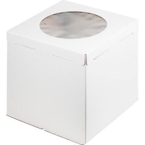 Коробка для торта с окном, 30*30*35см (белая)
