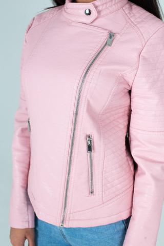 Куртка розовая кожаная косуха магазин