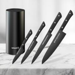 Набор из 4 кухонных стальных ножей Samura Shadow и подставки KBF-102