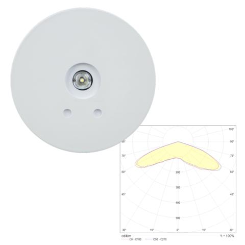 Встраиваемый круглый аварийный точечный светильник SLIMSPOT II Zone LOWBAY Teknoware с диаграммой светораспределения
