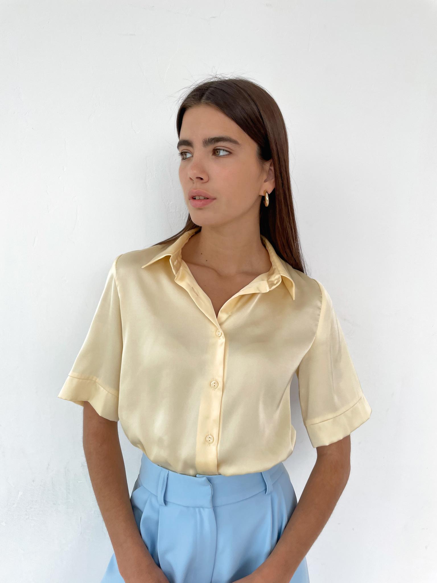 Рубашка шелковистая с коротким рукавом (желтый)