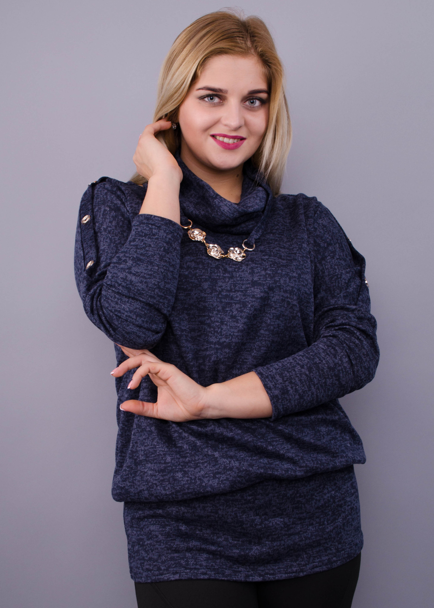 Кофточка с шарфом Муза (синий)