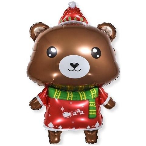 Фольгированный Шар Фигура Медвежонок Новогодний