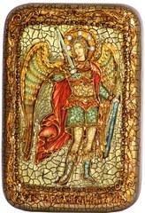 Икона Архангел Михаил 15х10см, инкрустированная жемчугом, в подарочной коробке