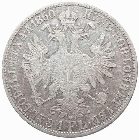 1 флорин 1860 год, Австрия. VF+
