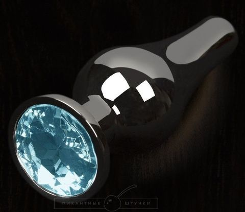 Графитовая удлиненная анальная пробка с голубым кристаллом - 8,5 см.
