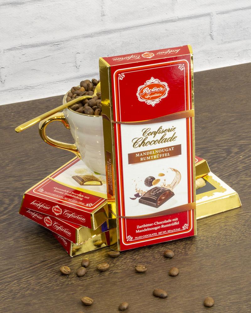 Горький Шоколад Reber с Трюфельной Начинкой из Миндаля и Рома 100 г