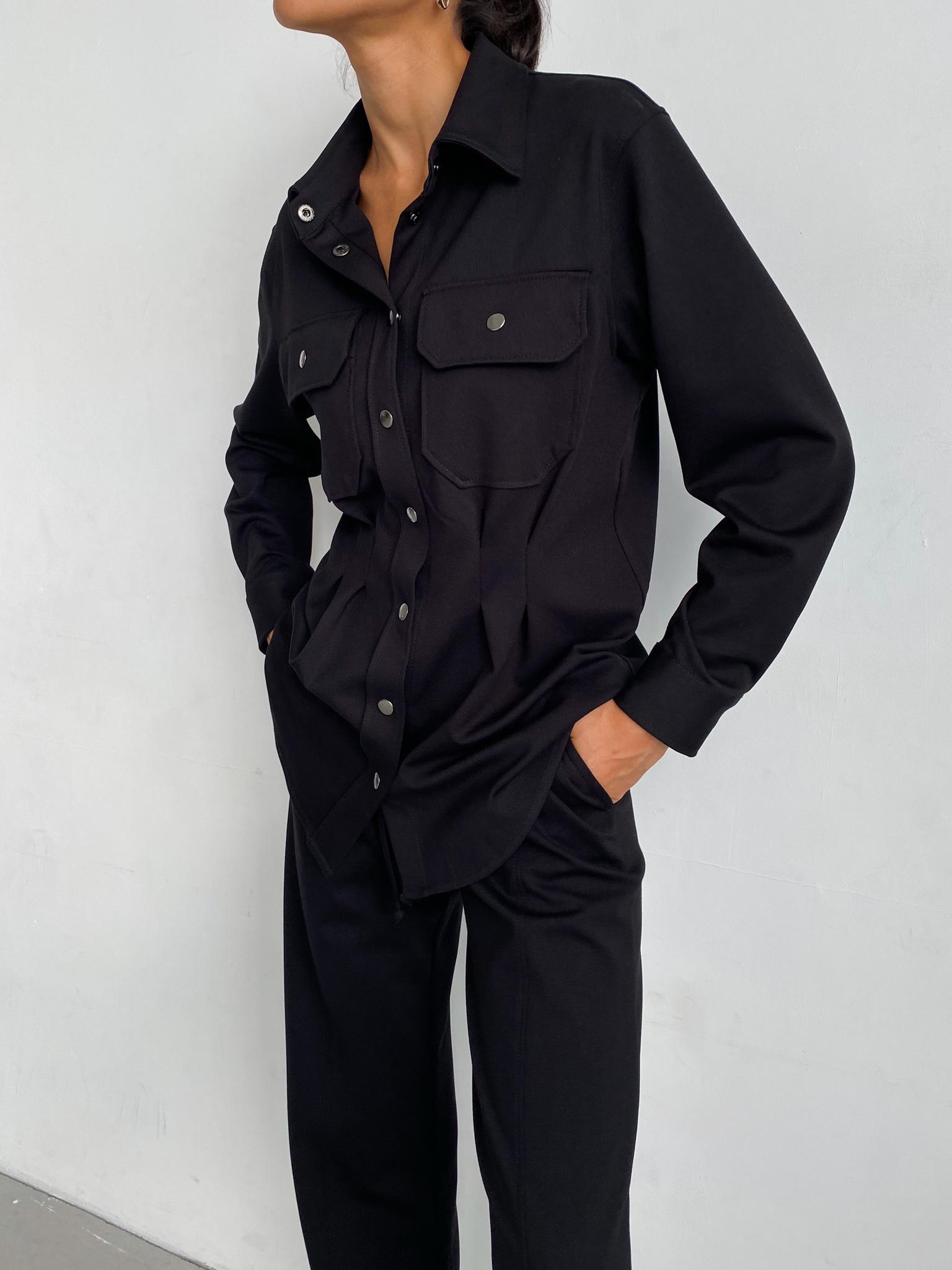 Костюм: Рубашка на кнопках и брюки на кулиске (черный)