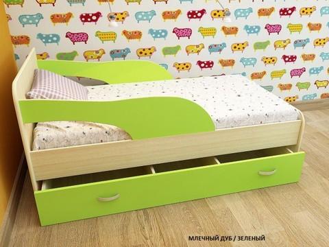 Кровать Максимка млечный дуб / салатовый