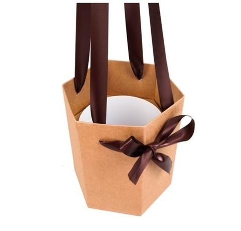 Коробка-ваза с пластиковой вставкой 25х25х27см L крафт