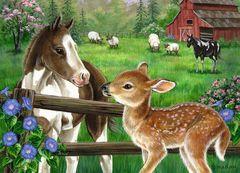 Картина раскраска по номерам 40x50 Встреча животных у забора