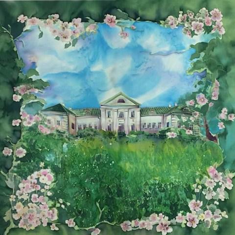 Шелковый платок батик Ясная Поляна Весна С-60