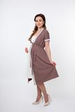 Комплект для беременных и кормящих с халатом и сорочкой 04582 капучино