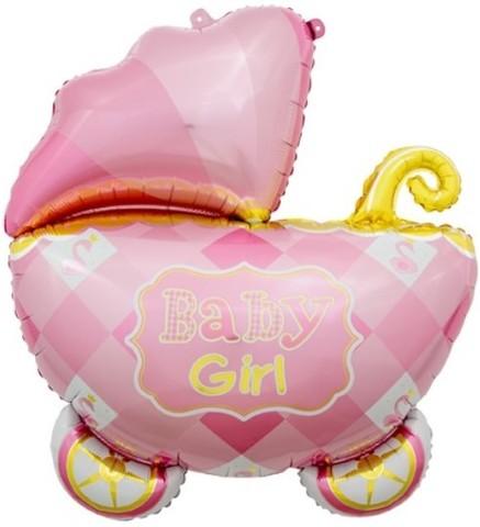 Шар (35''/89 см) Фигура, Коляска для девочки, Розовый, 1 шт.