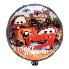 Фольгированный Круг Тачки Happy Birthday