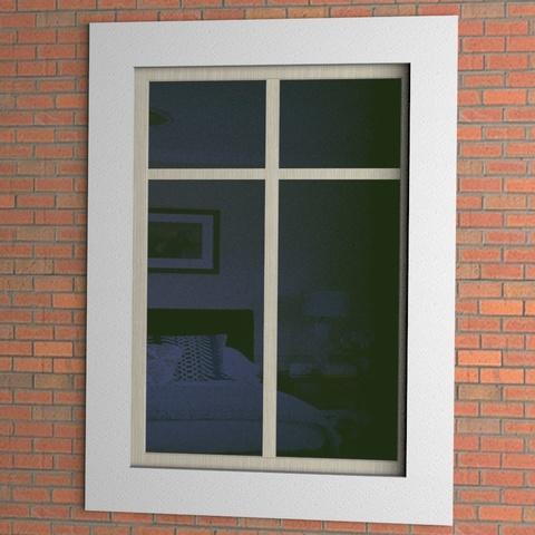 Окно с простым наличником из пенопласта.