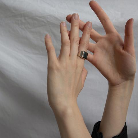 Кольцо-печатка с инталией (нефрит, квадрат, птица)
