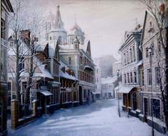 Картина раскраска по номерам 40x50 Зимние домики