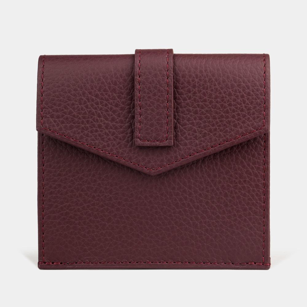 Картхолдер-кошелек Perle Easy из натуральной кожи теленка, бордового цвета