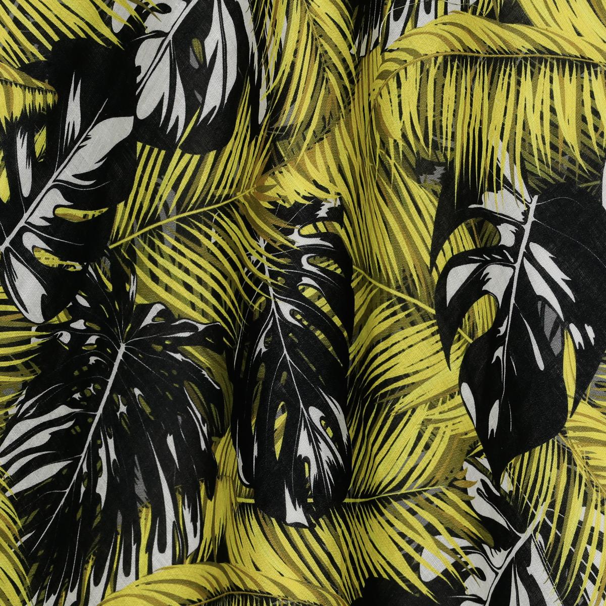 Шелковистый тонкий лён с чёрно-жёлтыми пальмовыми листьями