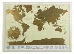 Скретч-карта мира в рамке (цвет беж)