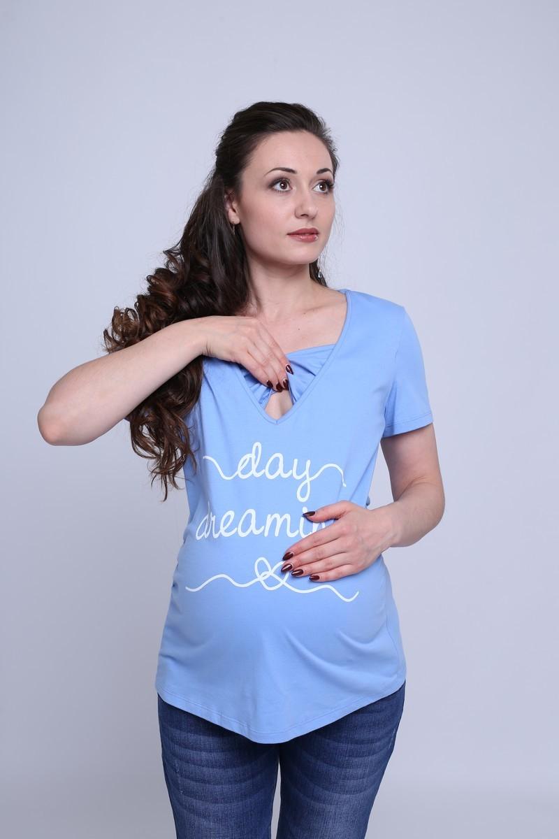 Футболка для беременных и кормящих 08764 голубой