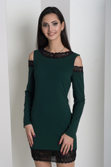 Ажур. Молодежное платье с кружевом. Изумруд