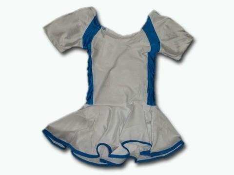 Купальник гимнастический модельный с юбкой. Состав: полиэстер. Размер М. Цвет: бело-бирюзовый. :(2008):