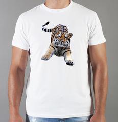 Футболка с принтом Тигр (Tiger) белая 0026