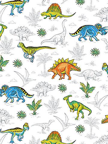 Простынь на резинке  -Динозавры- натяжная 90х200х26 см 1,5-спальная