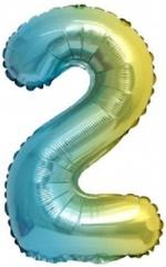 К Мини-цифра, 2, Нежная радуга, Градиент, 16''/41 см, 1 шт.