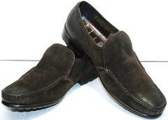 Зимние мужские туфли на меху. Мокасины мужские натуральная кожа Welfare 555841 Dark Brown Nubuk & Fur.