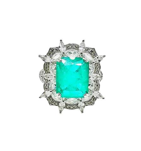 47868- Крупное кольцо из серебра с кварцем цвета параиба