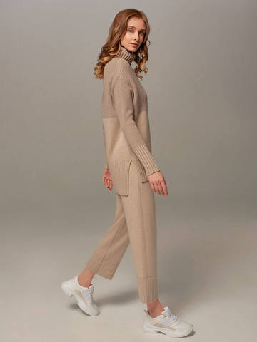 Женские брюки бежевого цвета из шерсти и кашемира - фото 4