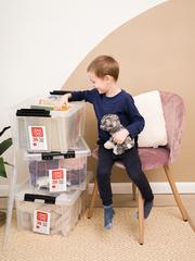 Ящик для хранения RoxBox с крышкой прозрачный 36 литров, набор из 3 штук