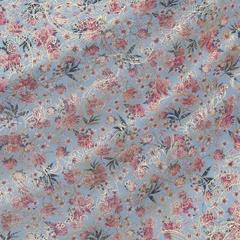 Розово-лиловые пионы на голубом с тонким