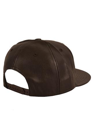 Бейсболка кожаная коричневая фото 2