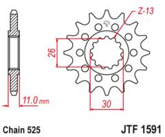 Звезда передняя JT F 1591.16 RB YAMAHA FZ MT XSR TDM YZF