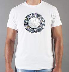 Футболка с принтом Бриллиант (с бриллиантами, с камнями, diamonds) белая 0017