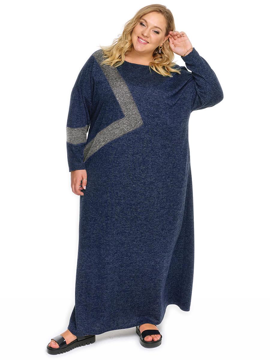Платье с асимметричной светло-серой отделкой