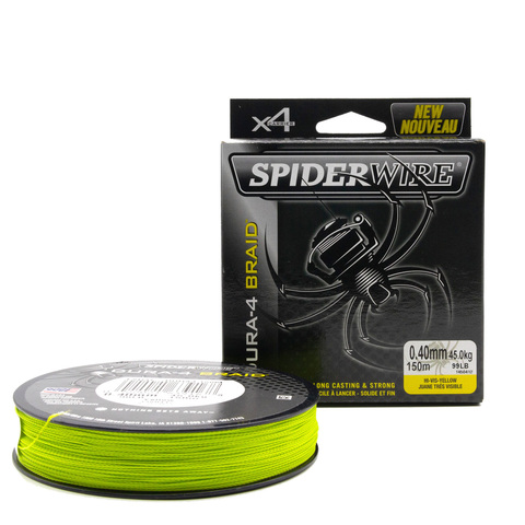 Плетеная леска Spiderwire Dura4 Braid Ярко-желтая 300 м. 0,40 мм. Yel