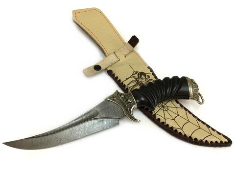 Нож Корсар с резной рукоятью, дамасская сталь