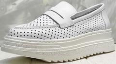 Женские туфли лоферы кроссовки на толстой подошве Derem 372-17 All White.