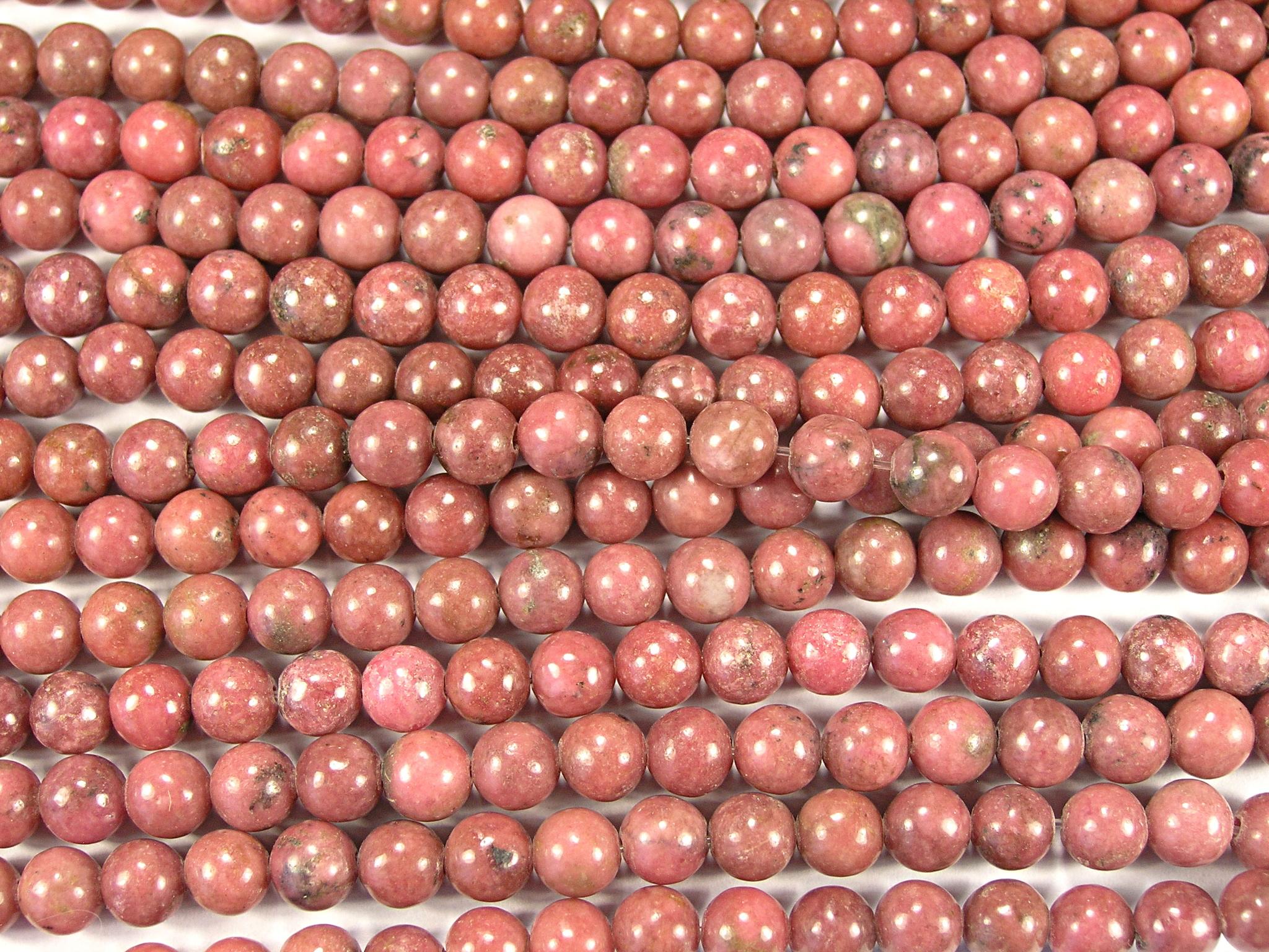 Нити бусин из родонита, шар гладкий 6мм (оптом)